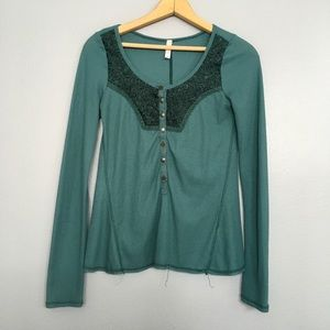 FREE PEOPLE   Teal Thermal Henley Top Sz S